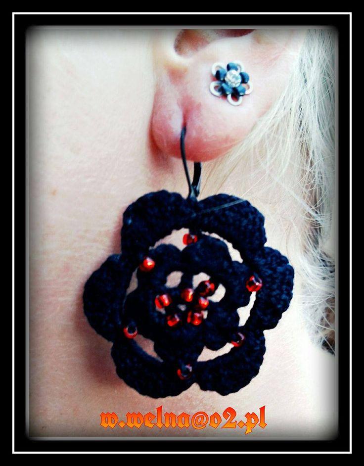 Earrings  http://welna.blog.onet.pl  w.welna@o2.pl   #kolczyki #earrings #handmade #crochet #rękodzięło #kwiaty #flowers #toho