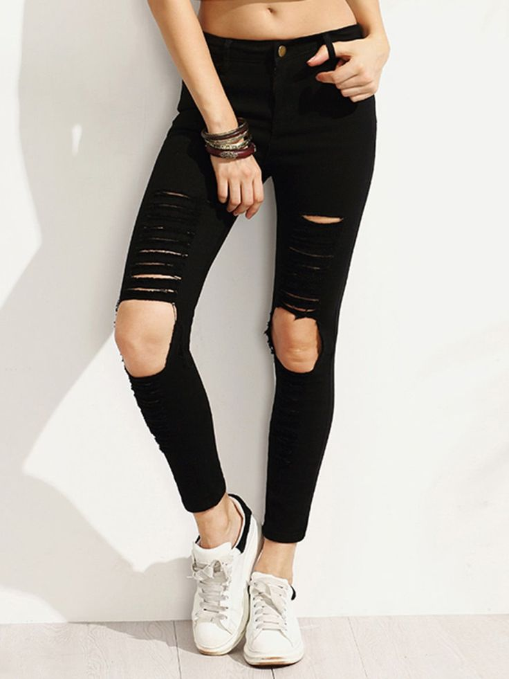 Capris Button Fly, Zipper Fly. Jeans Decorated with Ripped, Button, Pocket, Zipper. Skinny fit. Low Waist. Trend of Spring-2018, Summer-2018, Fall-2018. Designed in Black. Fabric has some stretch.