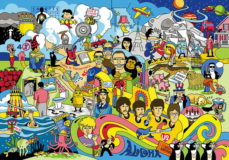 70 Illustrated Beatles' Song Titles Digital Art by Ron Magnes - 70 Illustrated Beatles' Song Titles Fine Art Prints and Posters for Sale