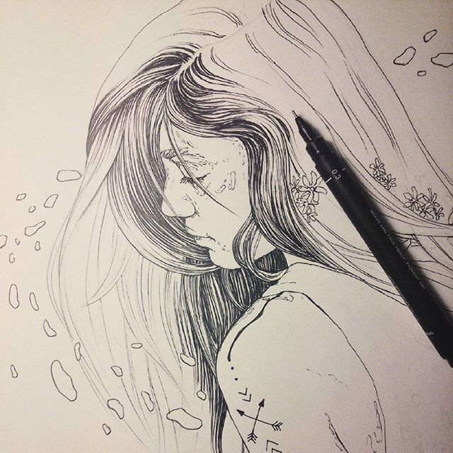 Hundreds hours later. Am I the only one so freaking excited about the new episode of true derective? Couldn't draw because of staring at the screen and thinking HOLLY SHIT  #art #artist #artistsoninstagram #instaart #instaartist #sketch #drawing #wip #process #ink #pencil #sketchbook #girl #hair #lineart #tattoo
