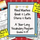 Word Masters: Latin & Greek word stems and roots program grades 4-8. All materials included for learning 100 stems & roots.