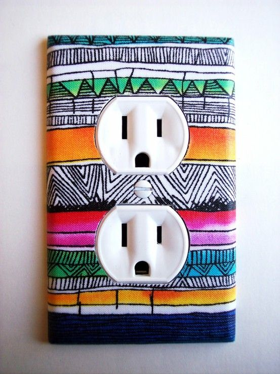 DIY plug cover?? Genius! Just cut paper/cloth to fit the plastic outlet cover, and modpodge the top! Let dry, and you have a brand new look! Try this on the light switch covers too!