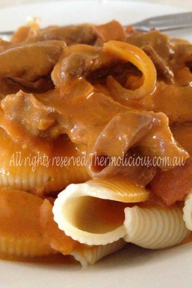 Bacon & Beef Stroganoff! Thermolicious.com.au- website coming soon...  #recipes #thermomix #beef #pasta #food #family #thermo