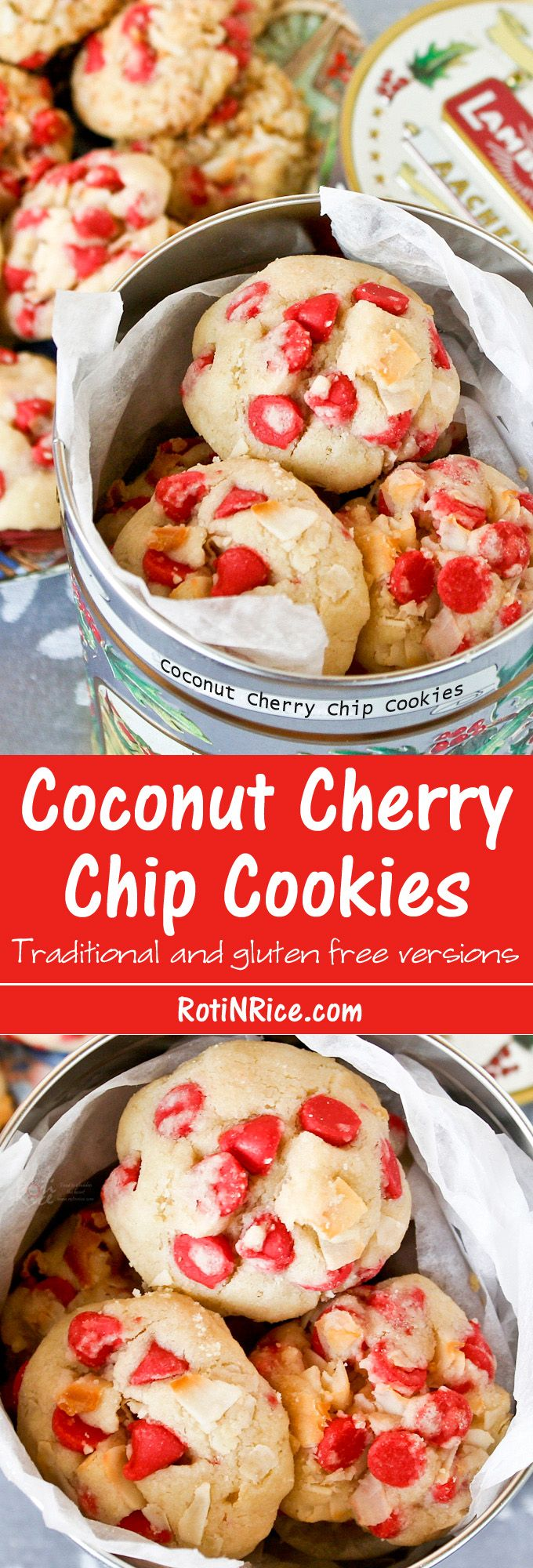 These Coconut Cherry Chip Cookies are so pretty, festive, and irresistibly tasty. They are a gem of a cookie! | RotiNRice.com