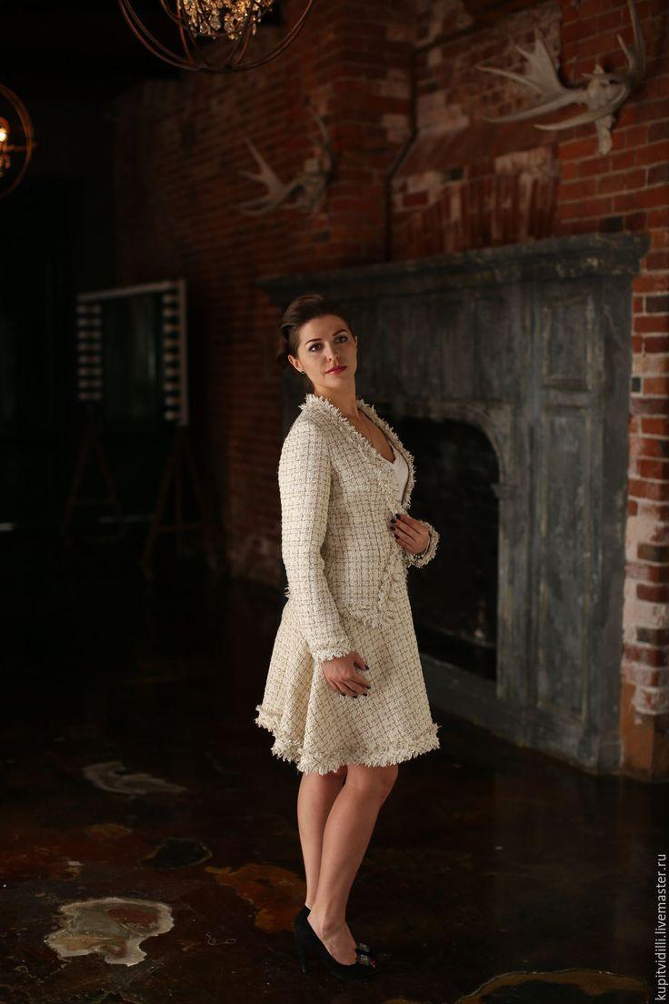Купить Юбка из твида ILLI BABY DOLL - белый, в клеточку, юбка солнце , юбка из букле твидовый жакет - жакет из твида -  твидовая юбка - юбка из твида - твидовый костюм - костюм из твида - букле - твид -твидовое платье -платье из твида - фемили лук - family look