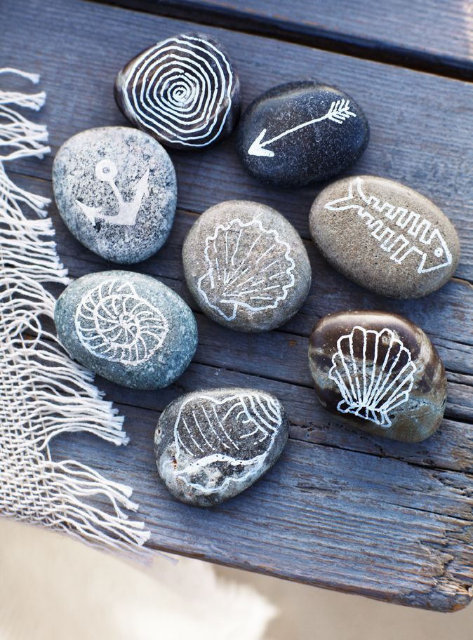 simply gather pretty and smooth rock and use a paint sharpie to draw nautical motifs on the rocks