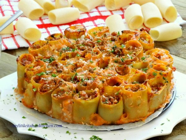 paccheri pasta bake with meat sauce and bechamel
