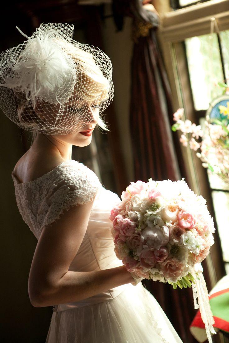 #bride #wedding #birdcage veil #veil #vintage