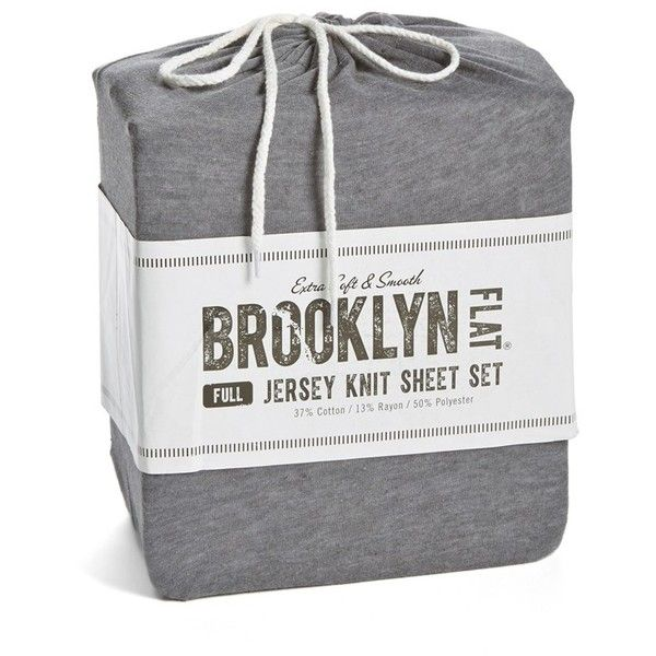 Brooklyn Flat Jersey Knit Sheet Set ($39) ❤ liked on Polyvore featuring home, bed & bath, bedding, bed sheets, heather grey, king size pillowcases, twin xl bedding, twin fitted sheet, king fitted sheet ve extra long twin bedding