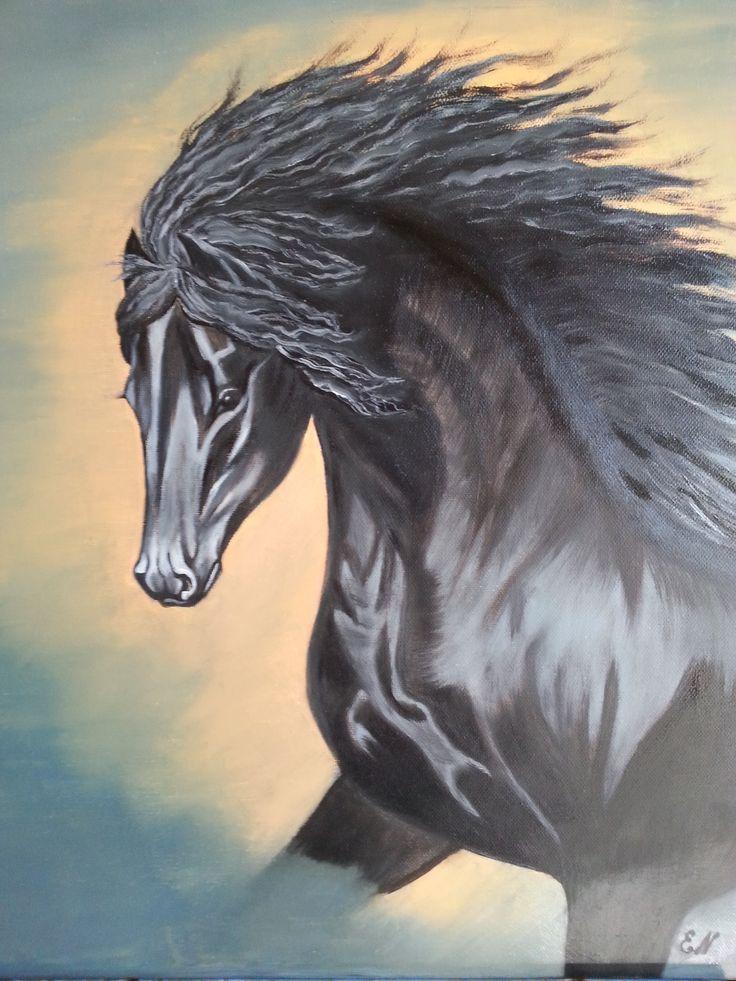 Cavallo nero al tramonto