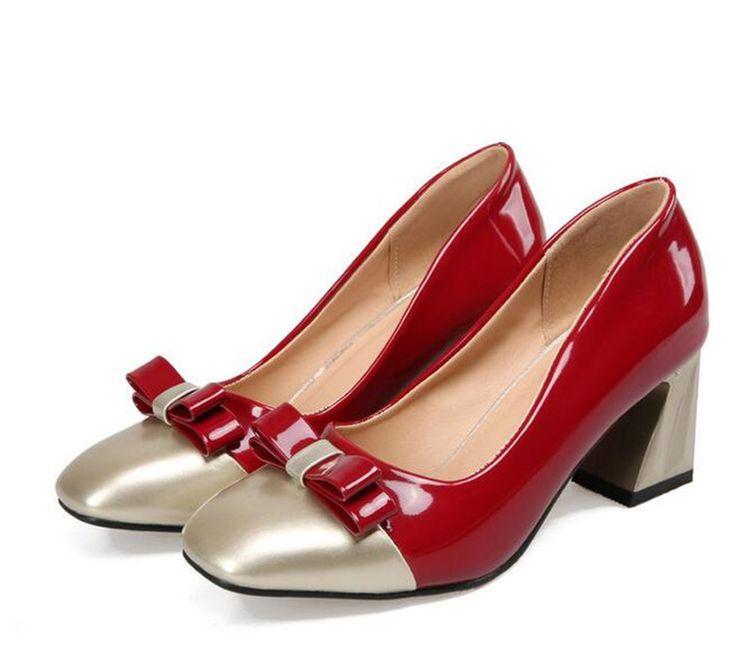 Sexy High Heel Sandalen Karree Bogen OL Party Hochzeit Schuhe echtes Leder Hochhackige Schuhe Frau Nude Pumps Big größe 34-43 //Price: $US $35.19 & FREE Shipping //     #abendkleider