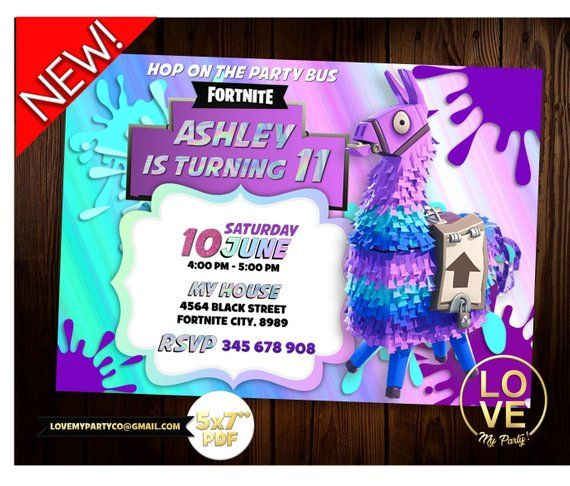 fortnite llama invitation  fortnite llama printable