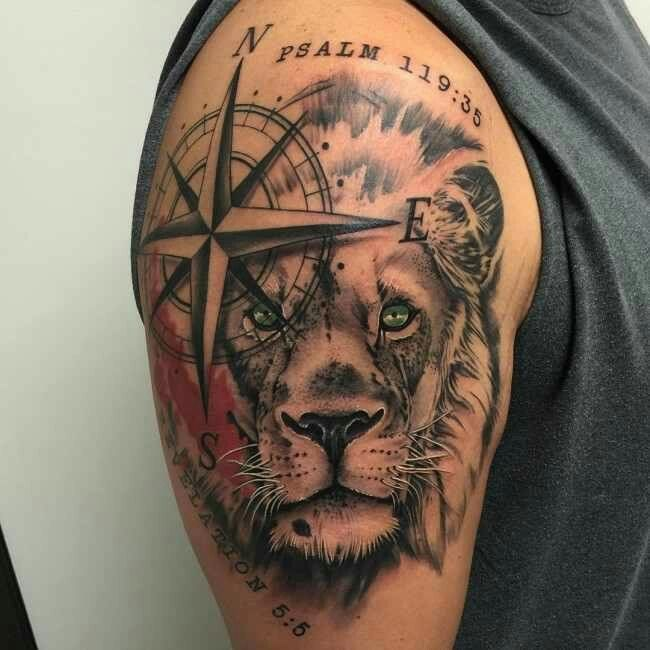 Leão com bússola