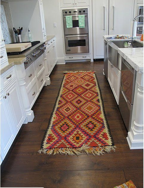 add a kitchen runner/ rug - easy way to add color and style to your kitchen - and it will hide our awful floor! | REFRESH - KITCHEN | Kitchen rug Kitchen ... & add a kitchen runner/ rug - easy way to add color and style to your ...