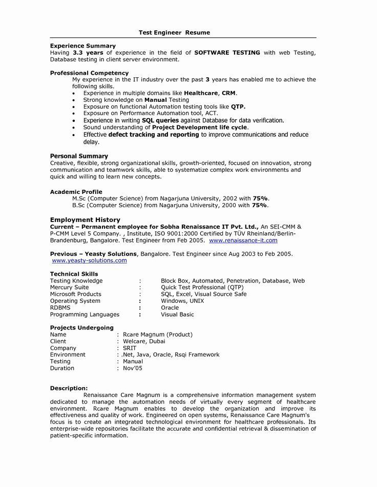 For 5 Years Experience In Testing Resume Format Resume Format