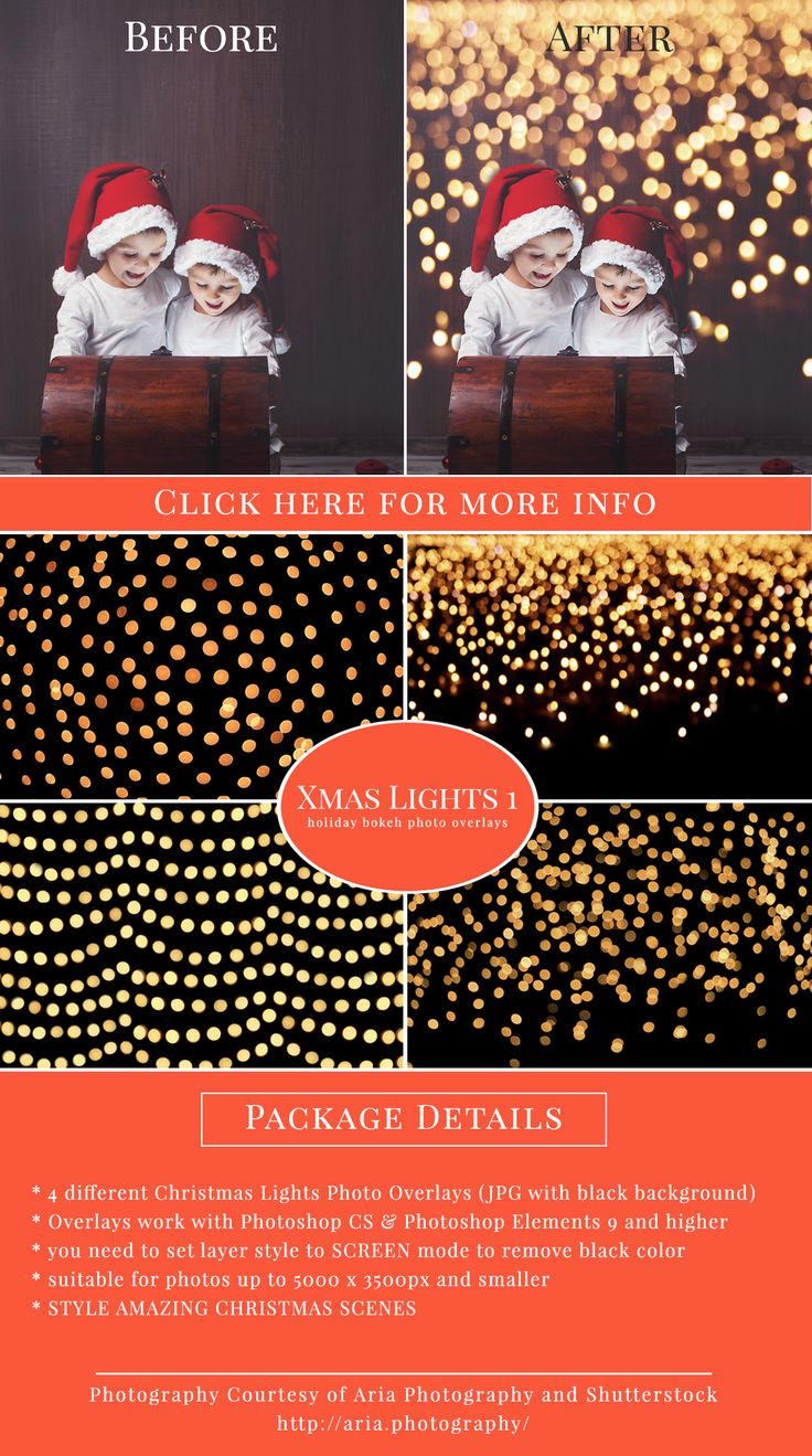 How to fix color cast in photoshop elements - Christmas Lights 1 Photo Overlays