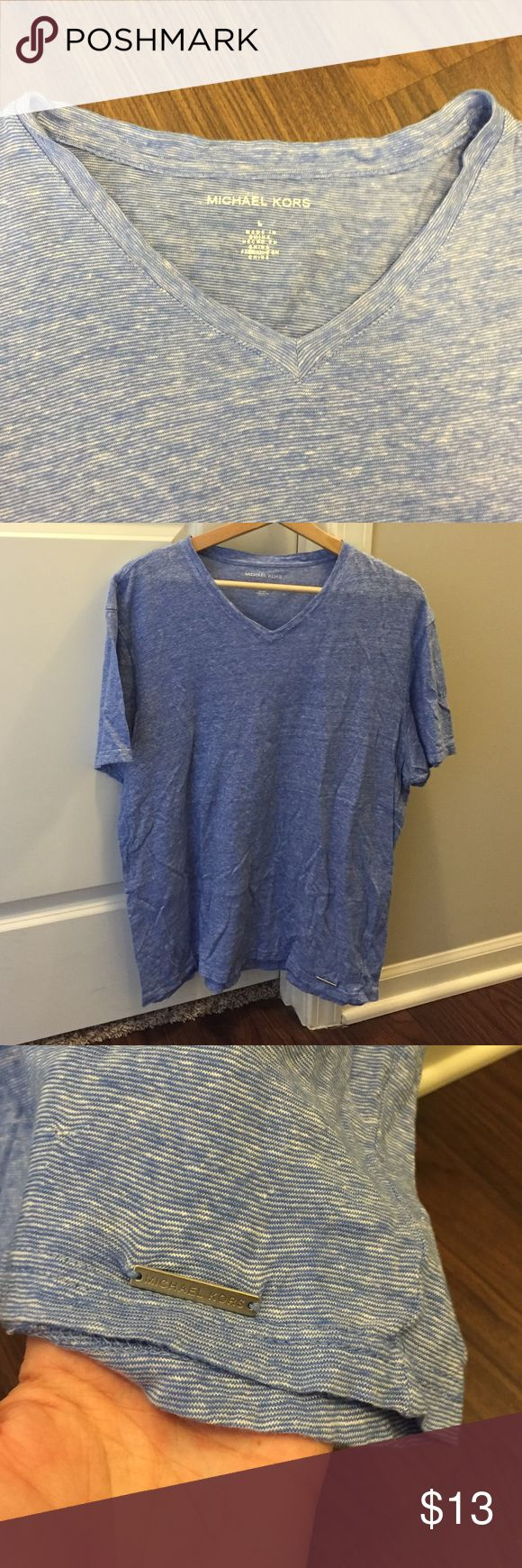Michael Kors v neck Blue Michael Kors v neck tshirt. Never been in the dryer! In great condition! Michael Kors Shirts Tees - Short Sleeve