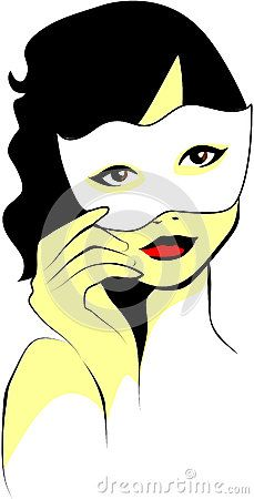 Colored vector illustration of a curly-haired woman who holds a white mask.
