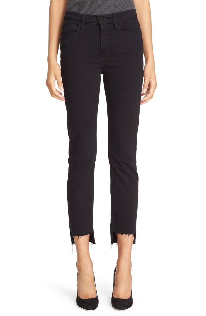 Main Image - FRAME Le High Straight High Waist Staggered Hem Jeans (Film Noir) (Nordstrom Exclusive)