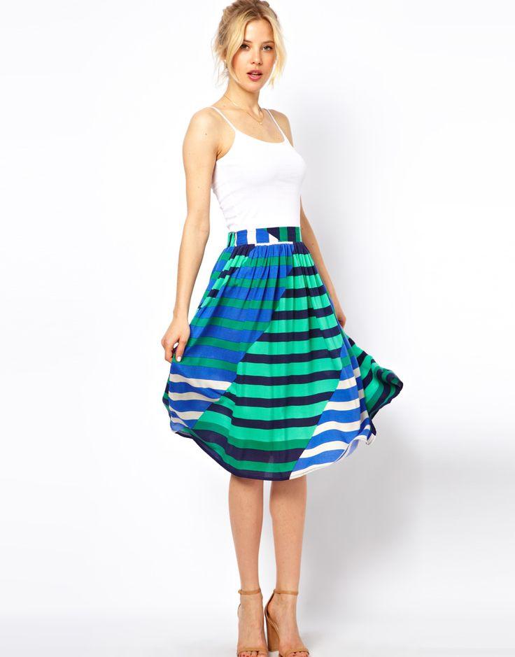 multi colored stripe midi skirt style