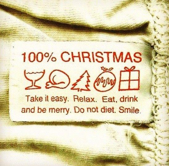 100% Christmas  Wir wünschen euch eine entspannte Zeit mit all den Angaben auf dem Bild.  Lasst mal die Seele baumeln, schlemmt, genießt, lacht und denkt ab uns zu an uns im Norden :-)  Wir drücken euch, Stefan und Tessa
