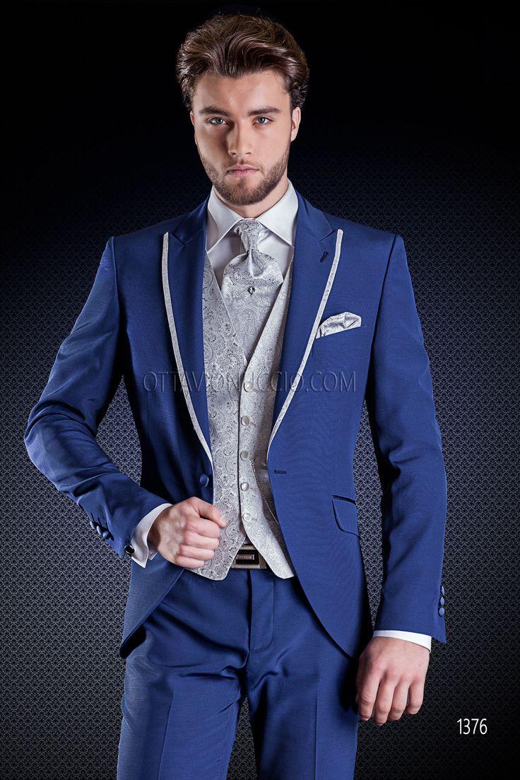 Abito sposo blu con gilet grigio