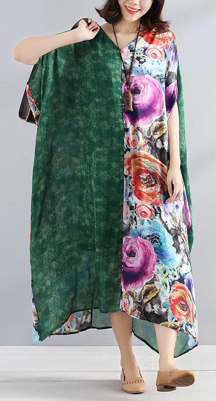a10c6fb5446 Women chiffon Robes Fitted V Neck Splicing Short Sleeves Printed Women  Summer Dress