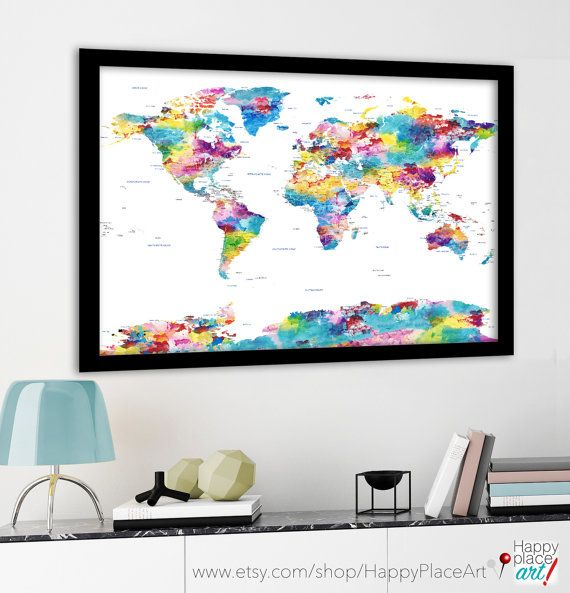 Large Political World Map With Usa State Borders And Labels Pastel Watercolor Map Huge World Map Country And Us Borders Major Cities By Happyplaceart