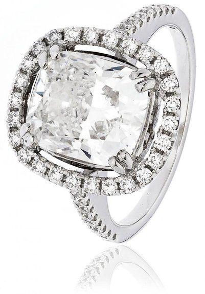 4.70CTS certificato G VS2 centro 4.01CT-Anello con diamanti taglio cuscino e diamanti sulle spalle con aureola in oro bianco 18 k, Oro bianco, 10, cod. FL-4797