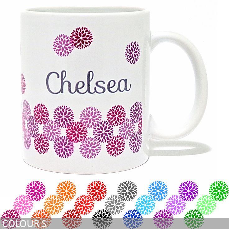 Personalised Floral Band Mug