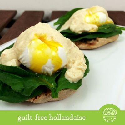 Ripped Recipes - Guilt-Free Hollandaise - My guilt-free hollandaise is lower in fat than a traditional, which can contain up to 15g of fat and 130 calories! Try my recipe for only 31 calories and 1g fat! If you're an Eggs Benedict lover, you'll have to try it out! I also lightened the meal by making an Eggs Florentine, which replaces the ham with spinach.