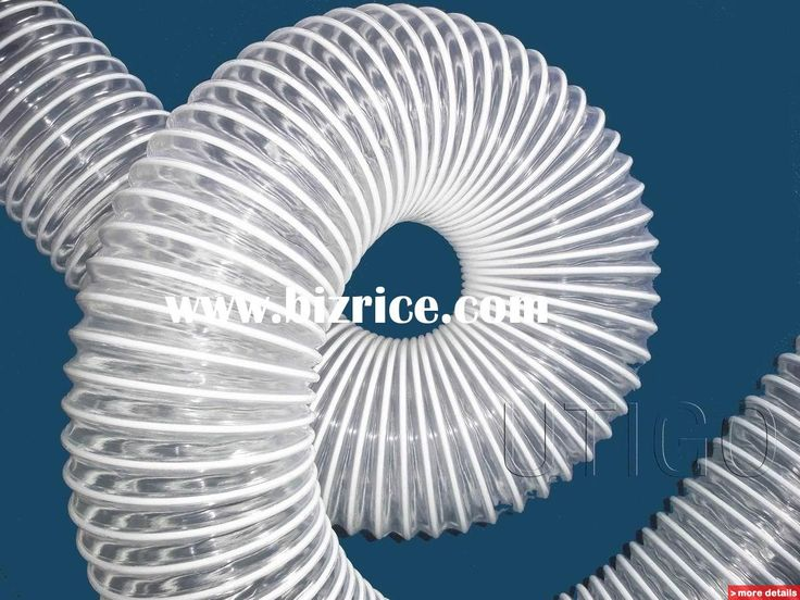 PVC ventilation hose with pvc coated steel wire hose            Application:   Especially ideal for ventilation and air conditioning system, industrial vacuum cleaner, and granulate conveying systems. Description from bizrice.com. I searched for this on bing.com/images