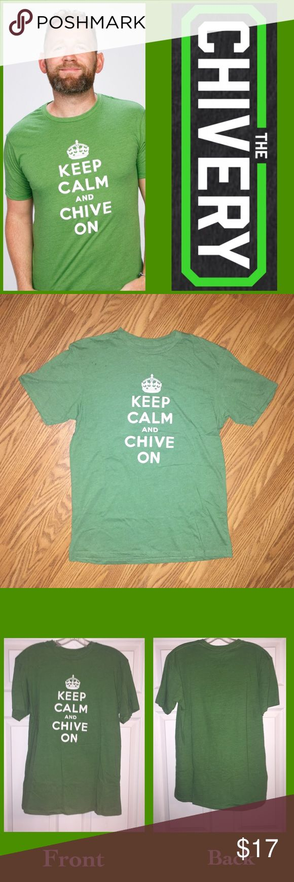 🎉🎉HP🎉🎉Keep Calm and Chive On Tee Now, you can't go anywhere -- to the mall, to the bar, or to the entire Internet without seeing the Keep Calm and Chive On motto. Chivers and Chivettes are everywhere and this original, classic Keep Calm and Chive On T-shirt is EUC!   While KCCO is a lifestyle that transcends the tee, it sure helps to show off your love. The Chivery Shirts Tees - Short Sleeve