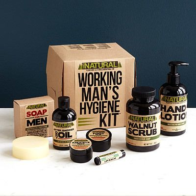 Working Man's Hygiene Kit - This all-natural set was created by a mechanic who let his dirty, damaged paws drive his inspiration to design products for dudes. The manly salves, scrubs and balms included are specially made to meet the needs of the working man.
