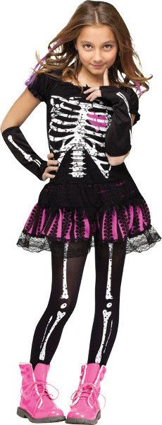 Girl's Costume: Sally Skelly-LargeA cute, flirty skeleton costume perfect for the party! Includes dress, sleevelets, and bone print footless tights. Shoes not included. Fits child large sizes 12-14.Si