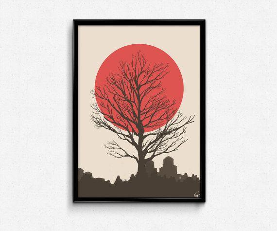 Japanese inspired 'Serenity' original art print // illustration wall art bedroom artwork japan red moon red poster tree art deco #japan
