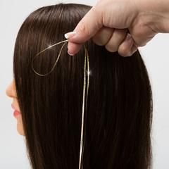 Hair Flairs Pro Hair Tinsel Directions, in 3 easy knots you can learn how to tie in Pro Hair Tinsel. Add sparkle, metallics, and color to your hair.