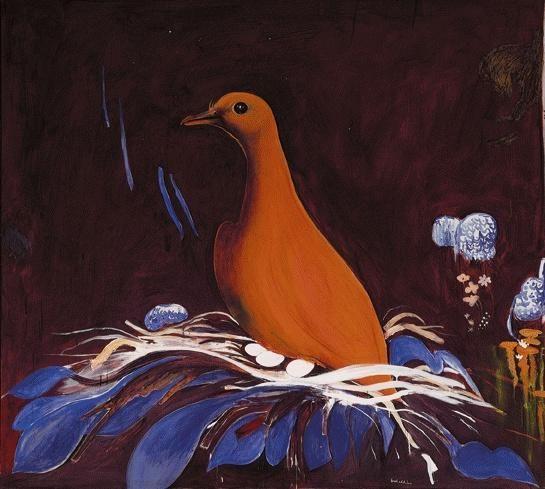 Orange Fiji Fruit Dove c. 1983 - Brett Whiteley