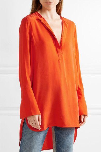 Equipment - Niko Washed-silk Tunic - Bright orange - small