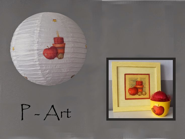 P - ART : LAMPSHADE, PAINTING, CANDLE - CHRISTMAS