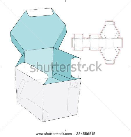 Hexagon Box with Flip-flop Lid and Die-cut Pattern