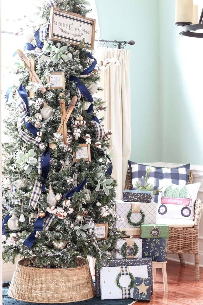 A Navy Green Farmhouse Christmas Tree The Turquoise Home Flocked Christmas Trees Blue Christmas Decor Turquoise Christmas Tree