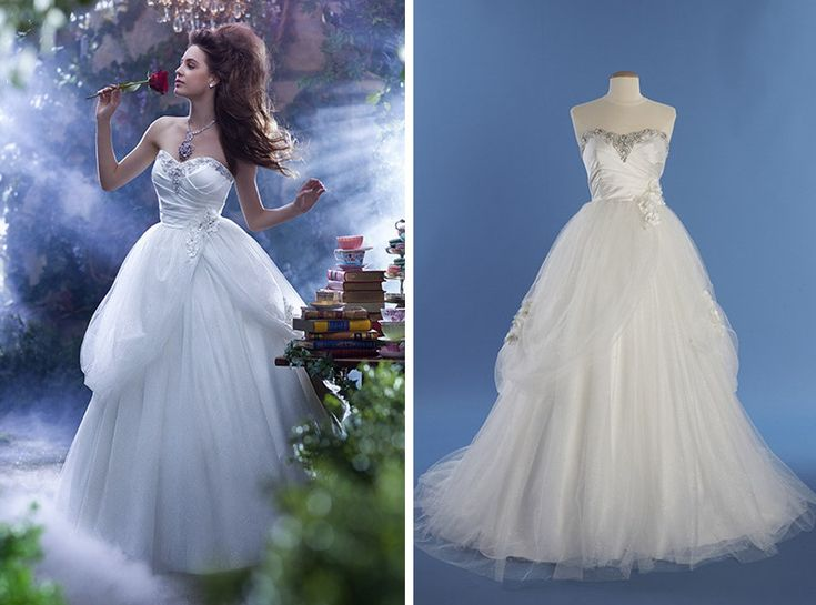 """A Disney acaba de lançar uma coleção de vestidos de noivas inspirados em sua princesas, que buscam representar a personalidade e o estilo de cada personagem. Modelo: Bella, de """"A Bella e a Fera"""""""