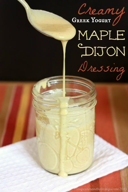 Creamy Greek Yogurt Maple Dijon Salad Dressing   A slightly sweet, tangy salad dressing with a smooth, rich texture, lightene...