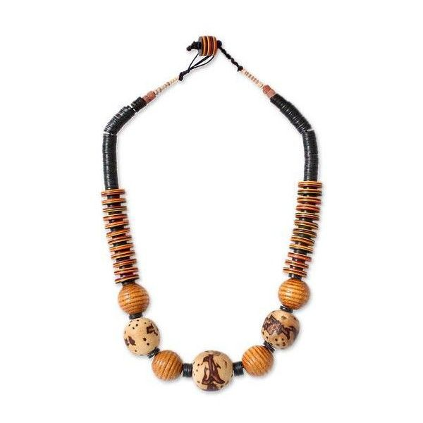 NOVICA Bauxite and Wood African Tribal Style Beaded Necklace ($48) ❤ liked on Polyvore featuring jewelry, necklaces, bauxite, beaded, bead necklace, african bead necklace, wood jewelry, wooden african necklace and tribal jewelry