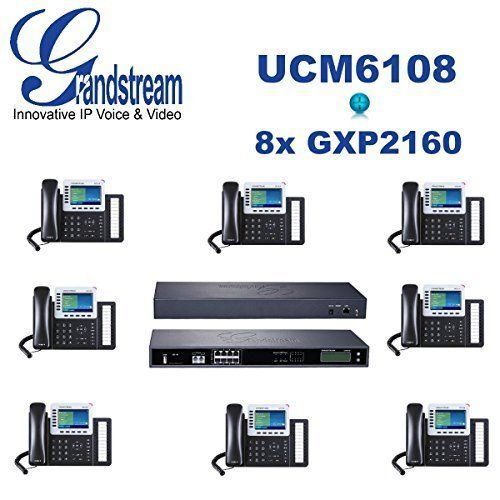 Grandstream Combo UCM6108 8 Port IP PBX + 8x GXP2160 Enterprise IP 6Line Phone. Grandstream Combo UCM6102 2 Port IP PBX. 8 x GXP2160 Enterprise IP 6Line Phone. Gigabit network port with integrated PoE, USB, SD; integrated NAT router with advanced QoS support. Integrated 2/4/8/16 PSTN trunk FXO ports, 2 analog telephone FXS ports, and up to 50 SIP trunk options. Supports up to 60 concurrent calls and up to 32 conference attendees.