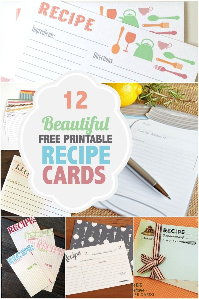 Printable Recipe Cards to Download