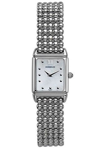 Michel Herbelin Ladies White Dial Steel Perle Bracelet Watch 17423/B19
