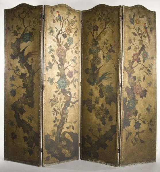 chinoiserie four panel folding screen ca lot 318