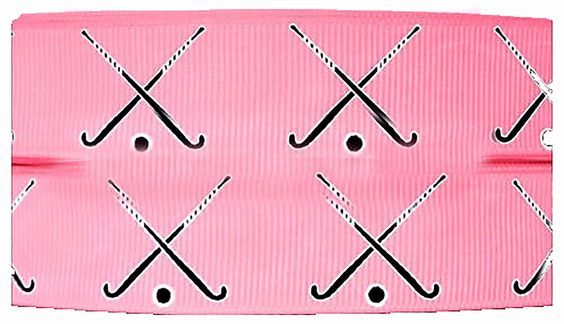 """Amazon.com: Custom & Fancy {.9"""" Inch Width - 3 YDS} 1 Pack of Wide """"Grosgrain"""" Ribbon for Hairbows, Decorations & Gift Wrap Made of Polyester & Nylon W/ Pink Field Hockey Sticks [Pink & Black Color]"""